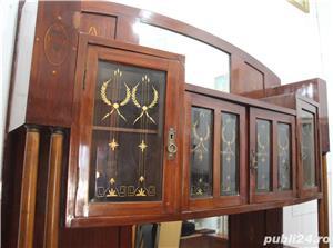 Bufet vintage lemn masiv cu marmura; Biblioteca; Vitrina veche - imagine 6