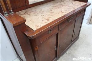 Bufet vintage lemn masiv cu marmura; Biblioteca; Vitrina veche - imagine 7