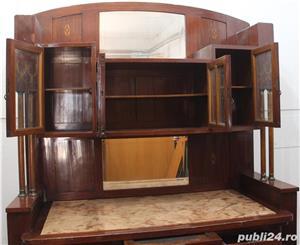 Bufet vintage lemn masiv cu marmura; Biblioteca; Vitrina veche - imagine 4