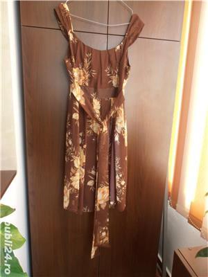 Vand rochie matase, maro cu flori cu galben si portocaliu delicat, 150 lei - imagine 2
