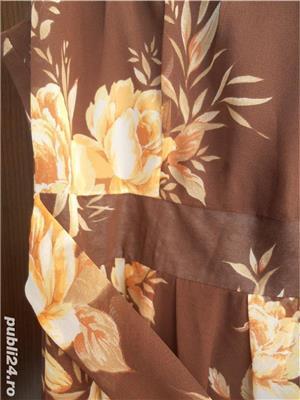 Vand rochie matase, maro cu flori cu galben si portocaliu delicat, 150 lei - imagine 4