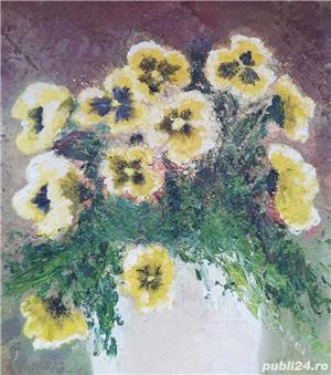 Tablou Natura statica Vas cu Panseluțe pictura ulei pe panza 31x36cm  - imagine 4