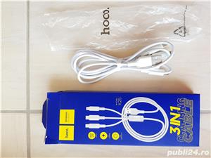 Cablu de date / adaptor Hoco X25 Soarer, 3-in-1, Lightning + Micro USB + Type-C, lungime 1 m, alb - imagine 1