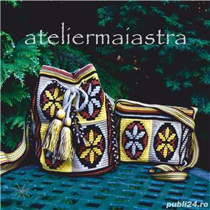 set genti handmade crosetate ornamentate cu motivul popular din Maramures scara matii și soare - imagine 1