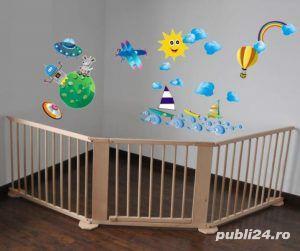 Tarc de joaca (7+1) din lemn pentru copii si bebelusi - imagine 4