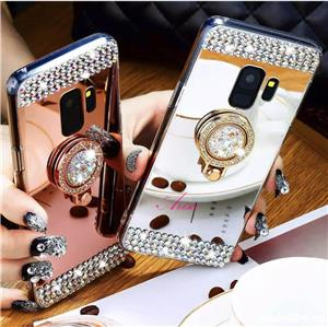 Husa tip oglinda cu pietricele + inel pt. Samsung Galaxy S7 Edge, S8, S8+, S8 Plus, S9, S9+, S9 Plus - imagine 1