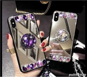 Husa oglinda cu inel si pietricele pt. Samsung Galaxy S9, S9+, S9 Plus, S10, S10+, S10 Plus - imagine 5