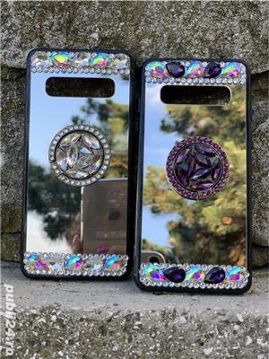 Husa oglinda cu inel si pietricele pt. Samsung Galaxy S9, S9+, S9 Plus, S10, S10+, S10 Plus - imagine 2