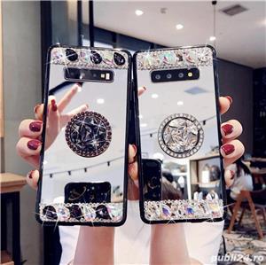 Husa oglinda cu inel si pietricele pt. Samsung Galaxy S9, S9+, S9 Plus, S10, S10+, S10 Plus - imagine 1