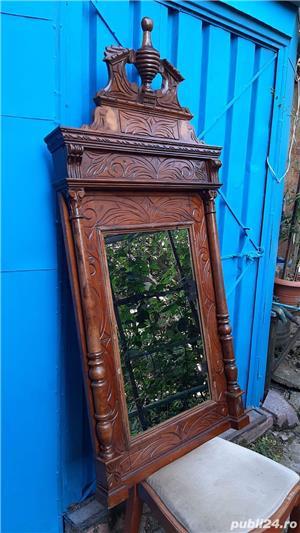 Vand sifonier si oglinda stil baroc, cu sculpturi manuale, originale,  foarte bune - 150 ani vech. - imagine 4