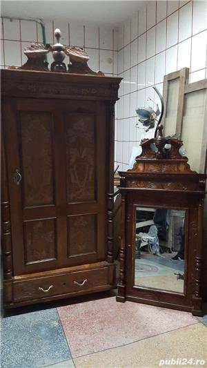 Vand sifonier si oglinda stil baroc, cu sculpturi manuale, originale,  foarte bune - 150 ani vech. - imagine 1