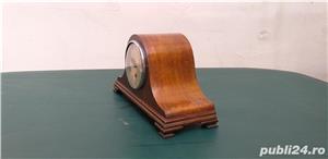 Ceas de semineu art deco din lemn cu 3 chei anii 30  - imagine 4