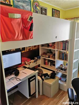 WOW! Vand pat supraetajat cu saltea, rafturi si birou incorporate IKEA - imagine 1