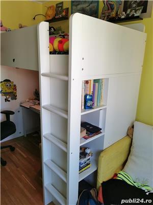 WOW! Vand pat supraetajat cu saltea, rafturi si birou incorporate IKEA - imagine 3