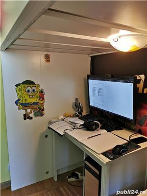 WOW! Vand pat supraetajat cu saltea, rafturi si birou incorporate IKEA - imagine 5
