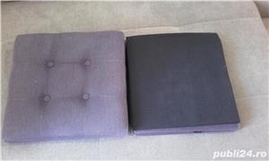 Taburet textil cu spatiu de depozitare - imagine 4