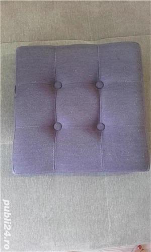 Taburet textil cu spatiu de depozitare - imagine 3