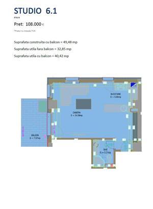 Studio nou mobilat in Solid Residence zona cluburi - Nuba - vedere lac - imagine 1
