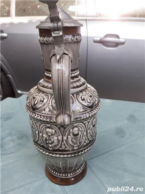 Halbă Rară de bere din ceramică cu gât îngust 25 cm capac aluminiu / zinc - imagine 5