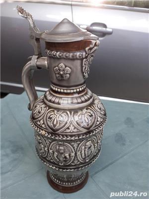 Halbă Rară de bere din ceramică cu gât îngust 25 cm capac aluminiu / zinc - imagine 4