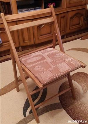 Set 4 scaune pliabile din lemn, tapitate - imagine 2