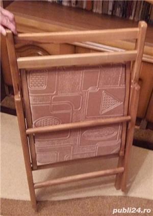 Set 4 scaune pliabile din lemn, tapitate - imagine 1