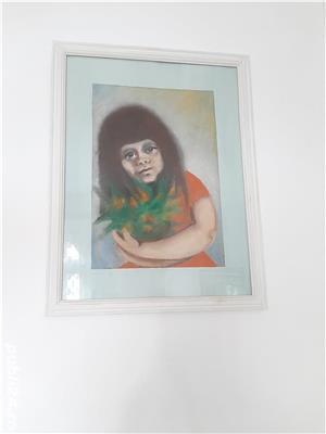 """Tablou in ceracolor anii '70 """"Fata cu flori"""" dimensiunea 45x32 cm. - imagine 2"""