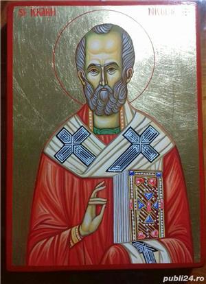 Icoana Sfântul Ierarh Nicolae, 32cm /23 cm pictata manual pe lemn,cu foita de aur - imagine 2