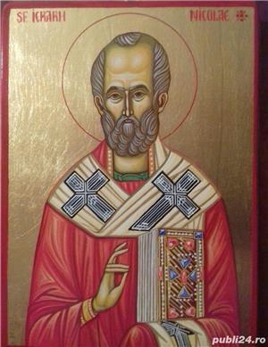 Icoana Sfântul Ierarh Nicolae, 32cm /23 cm pictata manual pe lemn,cu foita de aur - imagine 3