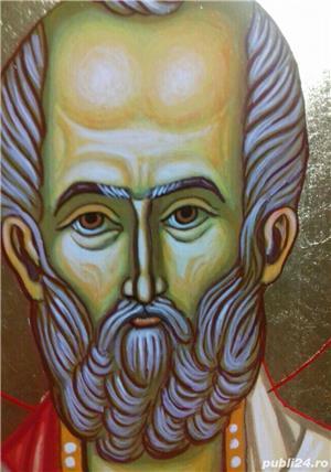 Icoana Sfântul Ierarh Nicolae, 32cm /23 cm pictata manual pe lemn,cu foita de aur - imagine 4