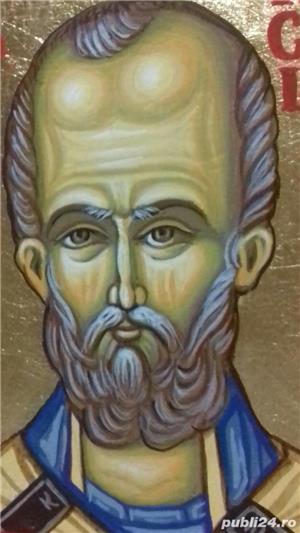 Icoana Sfântul Ierarh Nicolae, 32cm /23 cm pictata manual pe lemn,cu foita de aur - imagine 5