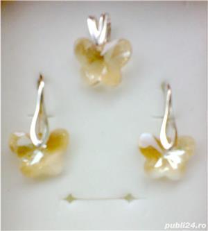 Set argint cu cristal fluturas - imagine 3