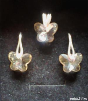 Set argint cu cristal fluturas - imagine 1
