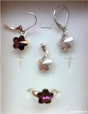 Set argint cu cristal (cercei+pandantiv+inel)  - imagine 3