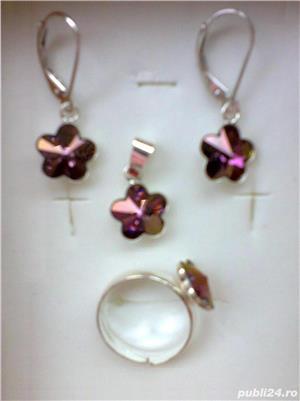 Set argint cu cristal (cercei+pandantiv+inel)  - imagine 1