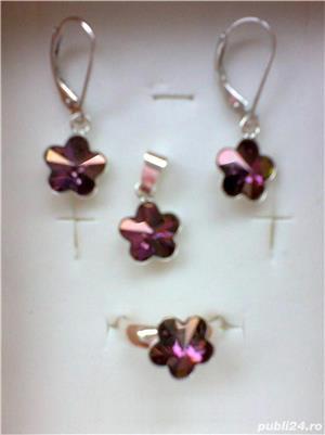 Set argint cu cristal (cercei+pandantiv+inel)  - imagine 2