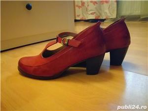 Pantofi rosi din piele, toc 5 cm, Droke - imagine 3