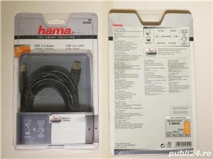 Cablu USB 3.0 Tip A - USB 3.0 Tip B dublu ecranat Hama - 3m lungime  - imagine 2
