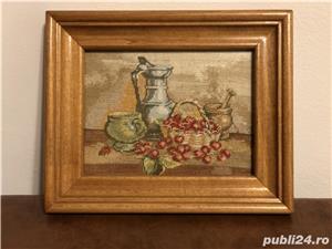 Goblen lucrat manual*ciresele*natura moarta cu cirese ! - imagine 4