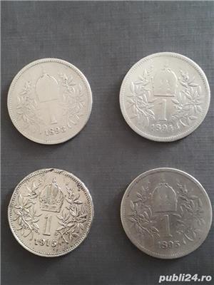Lot 4 monede argint 1 Coroana Austria 1893-1894-1895-1915 - imagine 2
