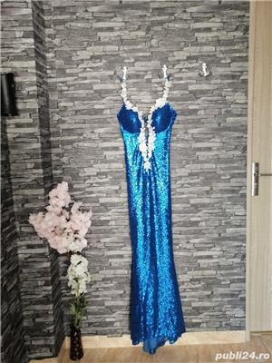 Rochie tip sirena, paiete, albastră  - imagine 2