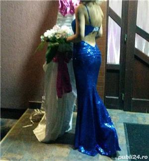 Rochie tip sirena, paiete, albastră  - imagine 5