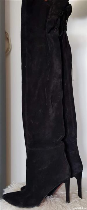 Vand cizme de piele intoarsa peste genunchi - imagine 4