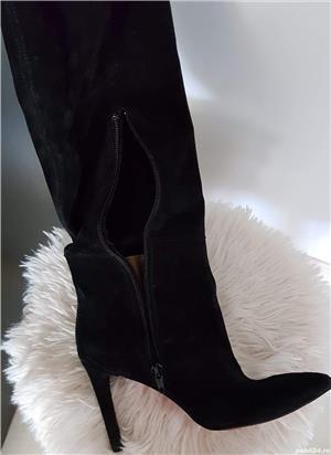Vand cizme de piele intoarsa peste genunchi - imagine 2