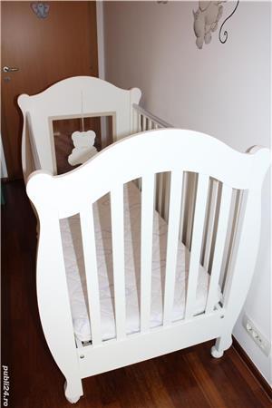 Patut bebe din lemn masiv Baby-Italia cu saltea + cadou tarc de joaca - imagine 3