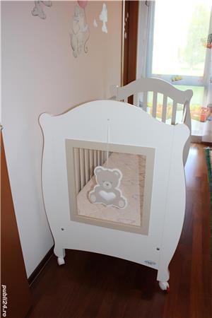 Patut bebe din lemn masiv Baby-Italia cu saltea + cadou tarc de joaca - imagine 2