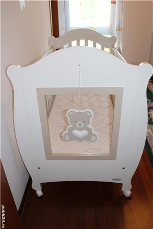 Patut bebe din lemn masiv Baby-Italia cu saltea + cadou tarc de joaca - imagine 4