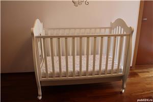 Patut bebe din lemn masiv Baby-Italia cu saltea + cadou tarc de joaca - imagine 5