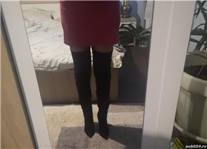 Vand cizme de piele intoarsa peste genunchi - imagine 6