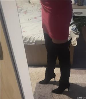 Vand cizme de piele intoarsa peste genunchi - imagine 5
